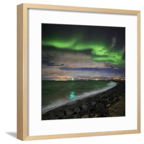 Aurora Borealis or Northern Lights, Reykjavik, Iceland--Framed Art Print