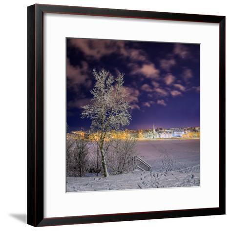 Snow Covered Trees and Frozen Pond, Reykjavik, Iceland--Framed Art Print