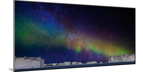 Digital Composite - Aurora Borealis or Northern Lights in Iceland and Icebergs in Greenland--Mounted Photographic Print