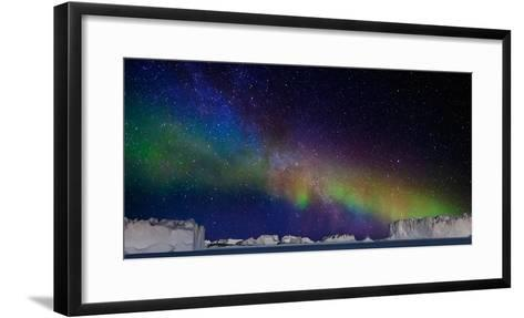 Digital Composite - Aurora Borealis or Northern Lights in Iceland and Icebergs in Greenland--Framed Art Print