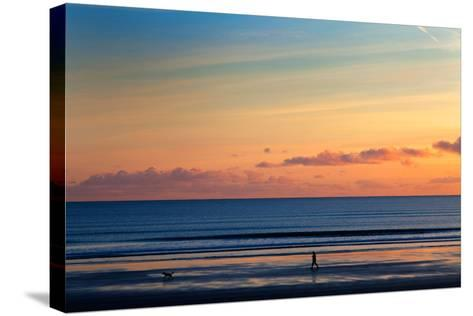 Walking the Dog, Tramore, County Waterford, Ireland--Stretched Canvas Print