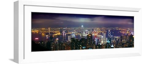 Aerial View of a City Lit Up at Night, Hong Kong, China--Framed Art Print