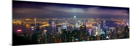 Aerial View of a City Lit Up at Night, Hong Kong, China--Mounted Photographic Print