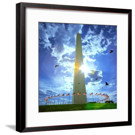 Low Angle View of the Washington Monument, the Mall, Washington Dc, USA--Framed Art Print