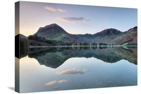 Reflection of Mountains in the Lake, Buttermere Lake, English Lake District, Cumbria, England--Stretched Canvas Print