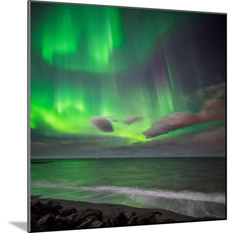 Northern Lights over the Waves Breakiing on the Beach in Seltjarnarnes, Reykjavik, Iceland--Mounted Photographic Print