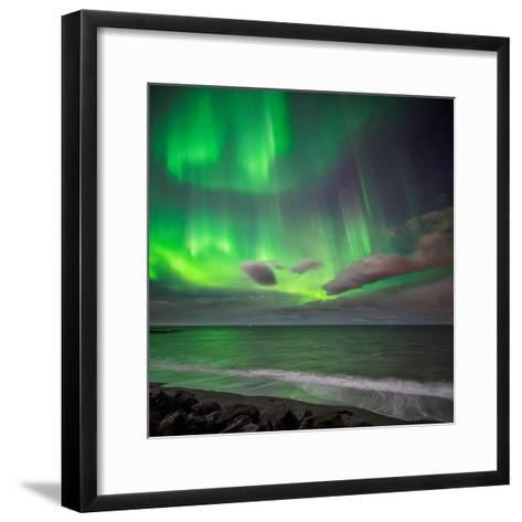 Northern Lights over the Waves Breakiing on the Beach in Seltjarnarnes, Reykjavik, Iceland--Framed Art Print