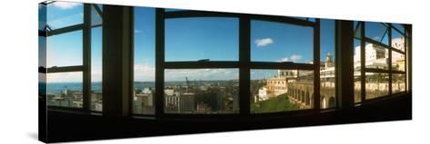 Buildings Viewed Through from a Window of Lacerda Elevator, Pelourinho, Salvador, Bahia, Brazil--Stretched Canvas Print