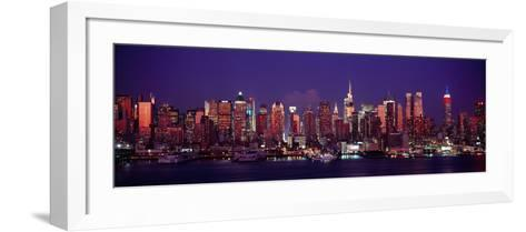 Buildings Lit Up at Dusk, Manhattan, New York City, New York State, USA--Framed Art Print