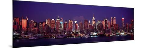Buildings Lit Up at Dusk, Manhattan, New York City, New York State, USA--Mounted Photographic Print