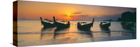 Fishing Boats in the Sea, Railay Beach, Krabi, Krabi Province, Thailand--Stretched Canvas Print