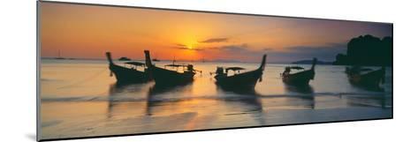 Fishing Boats in the Sea, Railay Beach, Krabi, Krabi Province, Thailand--Mounted Photographic Print