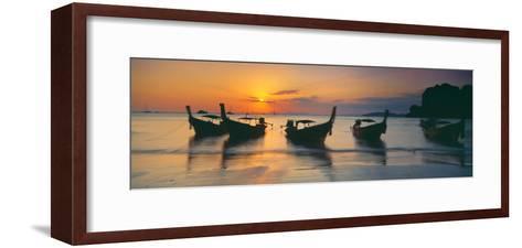 Fishing Boats in the Sea, Railay Beach, Krabi, Krabi Province, Thailand--Framed Art Print
