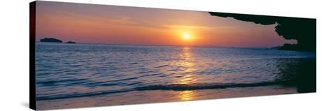 Sunset over the Sea, Railay Beach, Krabi, Krabi Province, Thailand--Stretched Canvas Print