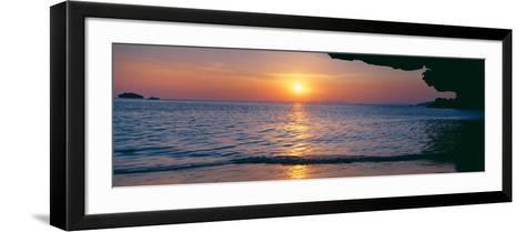 Sunset over the Sea, Railay Beach, Krabi, Krabi Province, Thailand--Framed Art Print