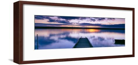 Reflection of Clouds on Water, Chesil Beach, Portland, Dorset, England--Framed Art Print