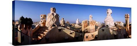 Architectural Details of Rooftop Chimneys, La Pedrera, Barcelona, Catalonia, Spain--Stretched Canvas Print