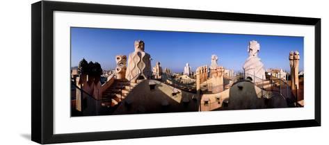 Architectural Details of Rooftop Chimneys, La Pedrera, Barcelona, Catalonia, Spain--Framed Art Print