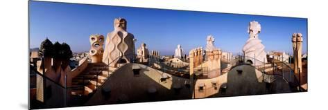 Architectural Details of Rooftop Chimneys, La Pedrera, Barcelona, Catalonia, Spain--Mounted Photographic Print