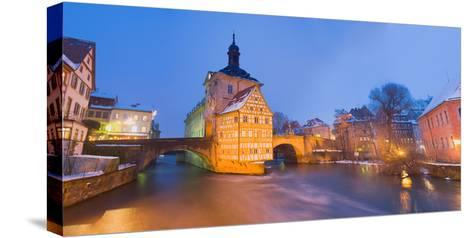 Town Hall in a City at Night, Bamberg, Germany--Stretched Canvas Print