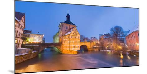 Town Hall in a City at Night, Bamberg, Germany--Mounted Photographic Print
