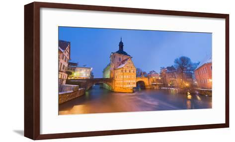Town Hall in a City at Night, Bamberg, Germany--Framed Art Print