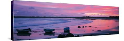 Boats on the Beach at Sunrise, Pors Carn, Finistere, Brittany, France--Stretched Canvas Print
