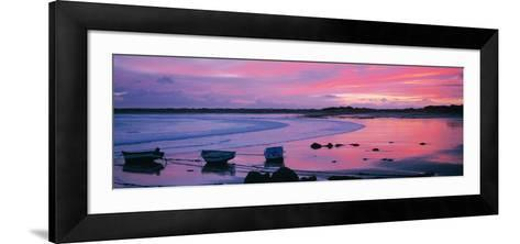 Boats on the Beach at Sunrise, Pors Carn, Finistere, Brittany, France--Framed Art Print