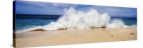 Breaking Waves on the Beach, Oahu, Hawaii, USA--Stretched Canvas Print