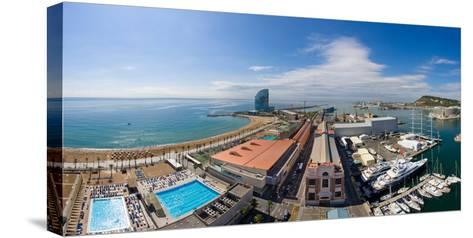 High Angle View of Harbor, Barcelona, Catalonia, Spain--Stretched Canvas Print