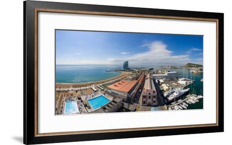 High Angle View of Harbor, Barcelona, Catalonia, Spain--Framed Art Print