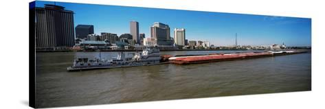 Barge in the Mississippi River, New Orleans, Louisiana, USA--Stretched Canvas Print