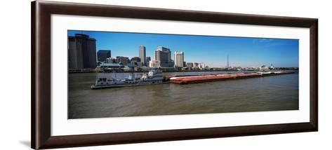 Barge in the Mississippi River, New Orleans, Louisiana, USA--Framed Art Print