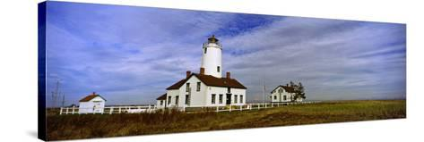 Lighthouse on a Landscape, Dungeness Lighthouse, Dungeness Spit, Olympic Peninsula--Stretched Canvas Print