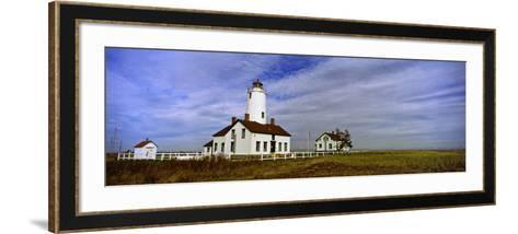 Lighthouse on a Landscape, Dungeness Lighthouse, Dungeness Spit, Olympic Peninsula--Framed Art Print