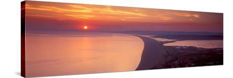 Chesil Beach at Sunset, Portland, Dorset, England--Stretched Canvas Print