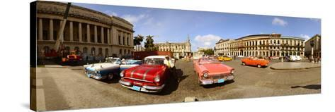 Old Cars on Street, Havana, Cuba--Stretched Canvas Print