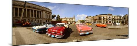 Old Cars on Street, Havana, Cuba--Mounted Photographic Print