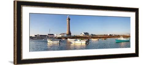 Boats in the Sea with a Lighthouse in the Background, Phare D'Eckmuhl, Penmarc'H, Finistere--Framed Art Print