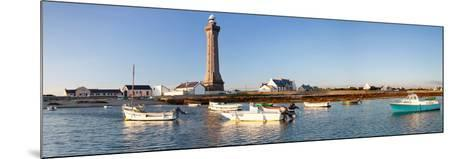 Boats in the Sea with a Lighthouse in the Background, Phare D'Eckmuhl, Penmarc'H, Finistere--Mounted Photographic Print