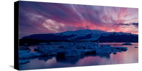 Icebergs in a Glacial Lake, Jokulsarlon Lagoon, Iceland--Stretched Canvas Print