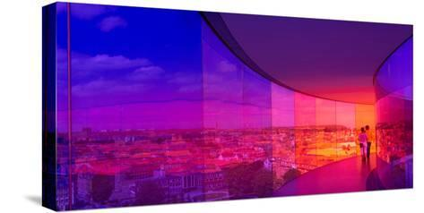 View of a City from the Translucent Walkway of a Museum, Aros Aarhus Kunstmuseum, Aarhus, Denmark--Stretched Canvas Print
