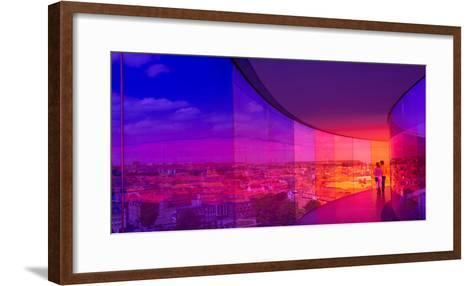 View of a City from the Translucent Walkway of a Museum, Aros Aarhus Kunstmuseum, Aarhus, Denmark--Framed Art Print