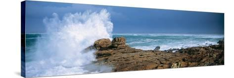 Waves Breaking on the Coast, Saint Guenole, Finistere, Brittany, France--Stretched Canvas Print