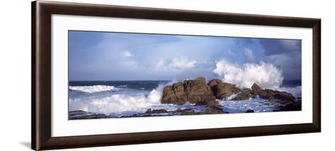 Waves Breaking on the Coast, Saint Guenole, Finistere, Brittany, France--Framed Art Print