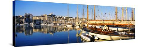 Boats Moored at a Harbor, Vieux Port, Marseille, Provence-Alpes-Cote D'Azur, France--Stretched Canvas Print