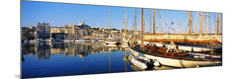 Boats Moored at a Harbor, Vieux Port, Marseille, Provence-Alpes-Cote D'Azur, France--Mounted Photographic Print