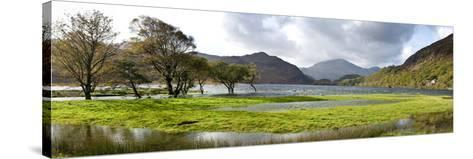 Lake with Mountains in the Background, Llyn Dinas, Snowdonia National Park, Wales--Stretched Canvas Print