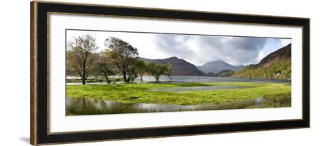 Lake with Mountains in the Background, Llyn Dinas, Snowdonia National Park, Wales--Framed Art Print
