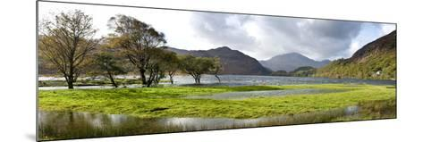 Lake with Mountains in the Background, Llyn Dinas, Snowdonia National Park, Wales--Mounted Photographic Print